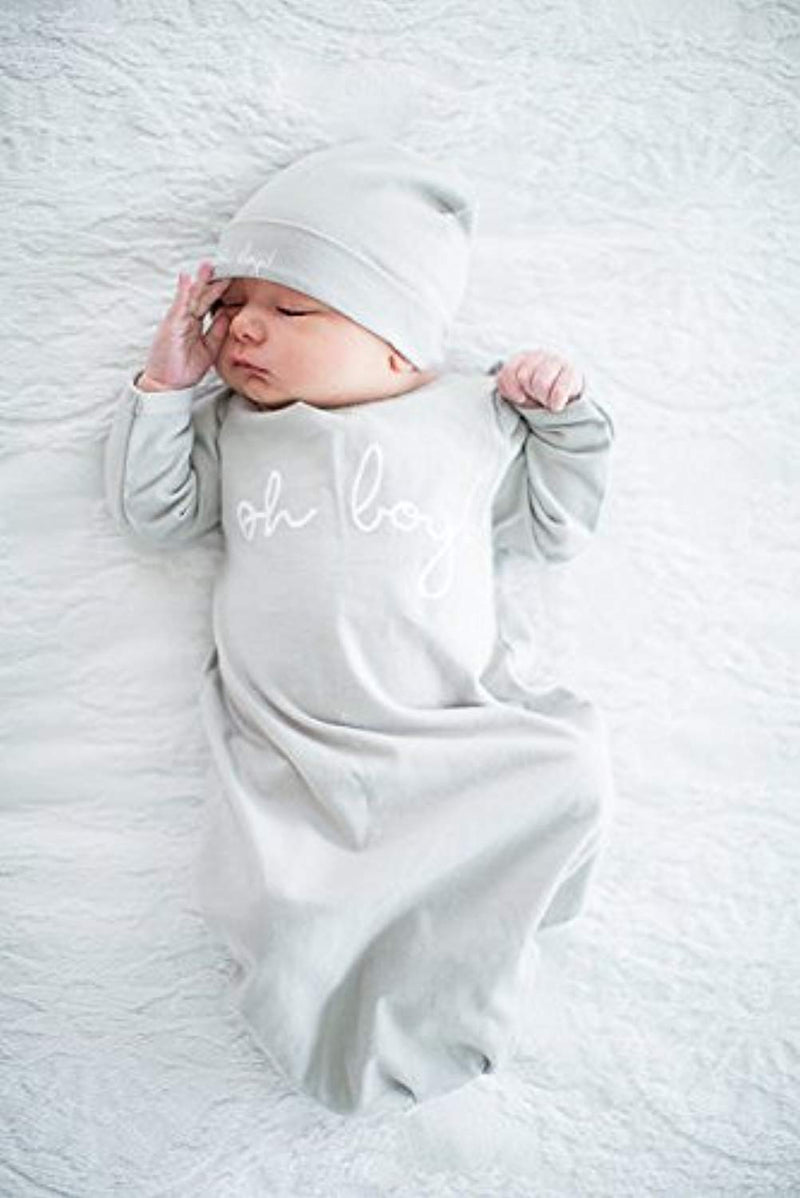 Pink & Grey Floral Delivery Robe and Baby Receiving Gown & Hat Set - Mommylicious