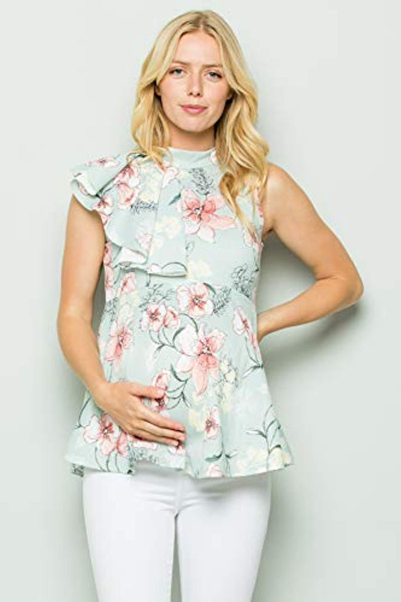 Aqua Floral Side Ruffle Peplum Maternity Top - Mommylicious