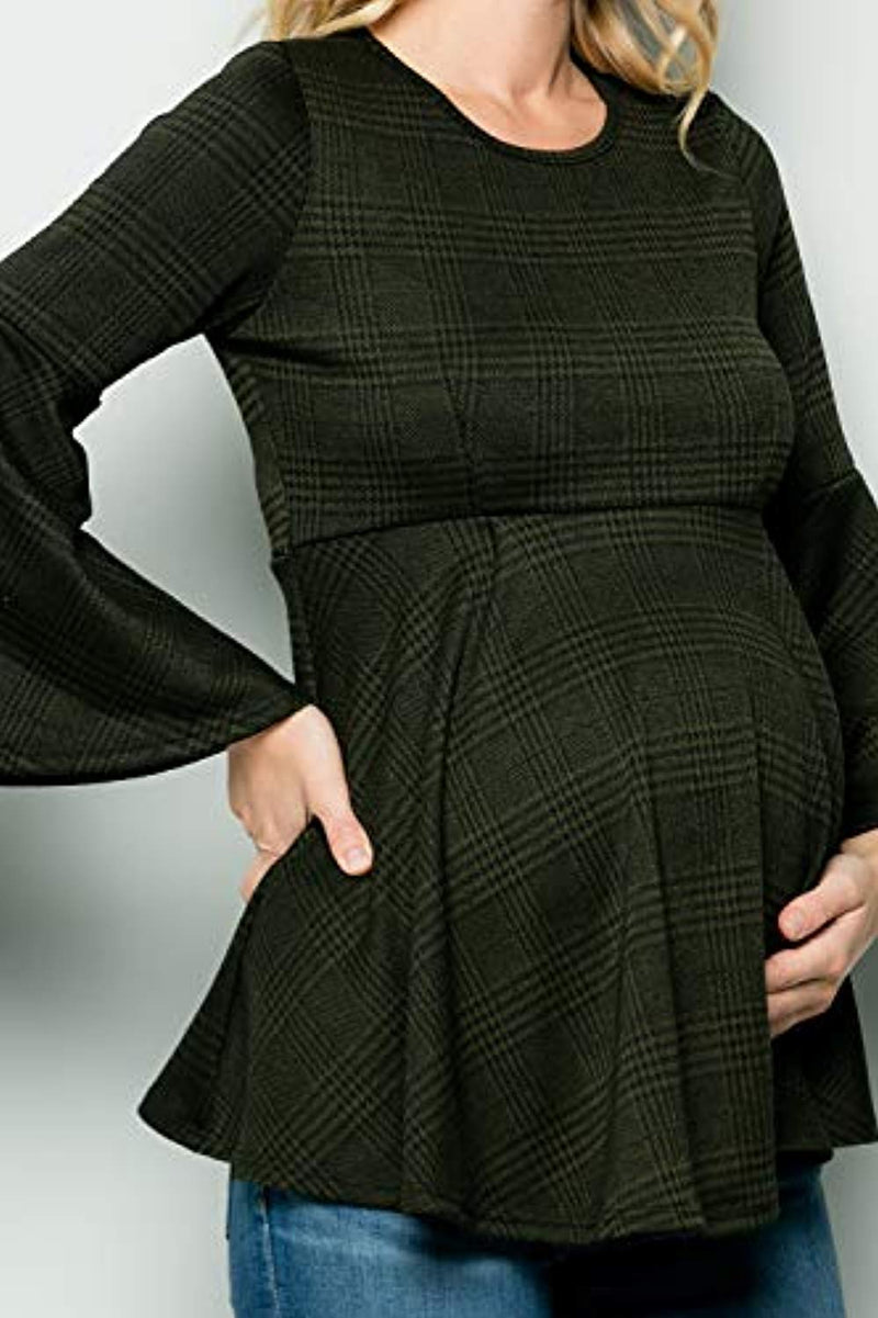 Olive Burberry Check Bell Sleeve Maternity Tunic - Mommylicious