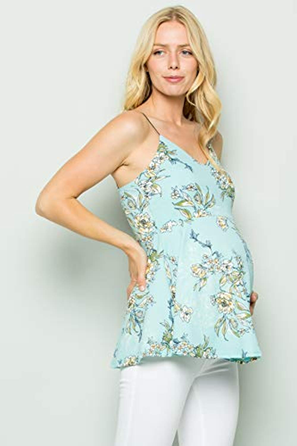 mint floral maternity top