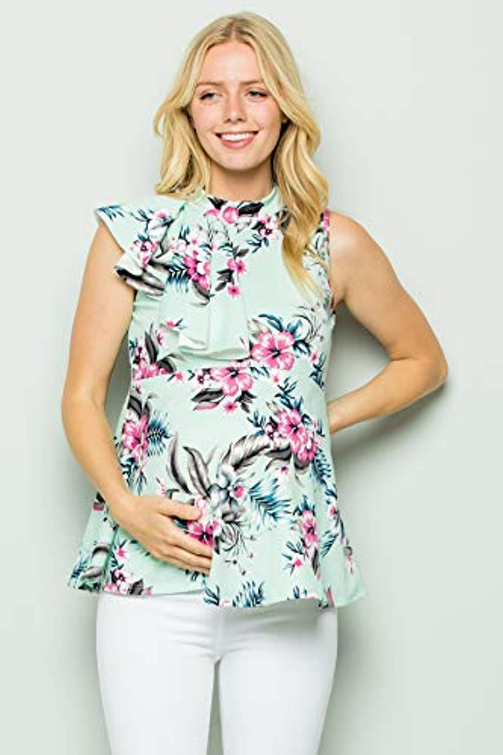 Mint Floral Side Ruffle Peplum Maternity Top - Mommylicious