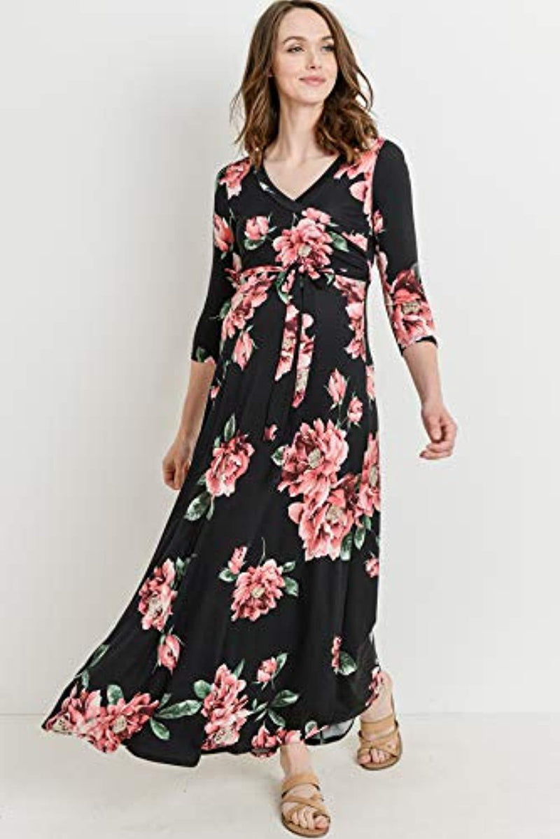 Floral Wrap Maxi Maternity Dress - Mommylicious