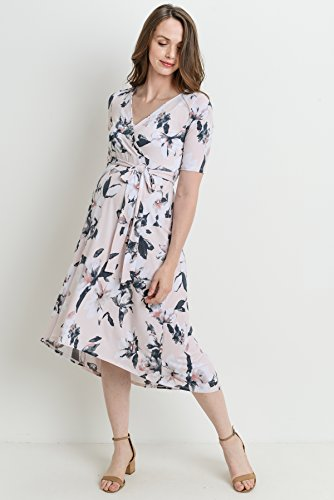 High-Low Surplice Wrap Maternity & Nursing Dress - Mommylicious