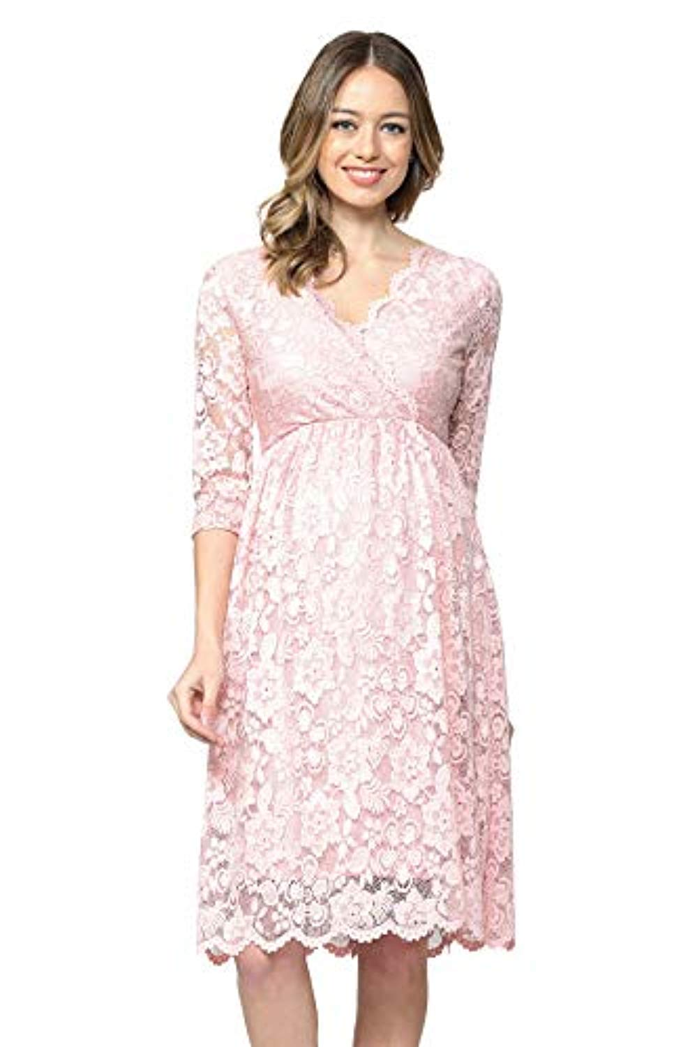 Scalloped Pink Lace Baby Shower Dress - Mommylicious