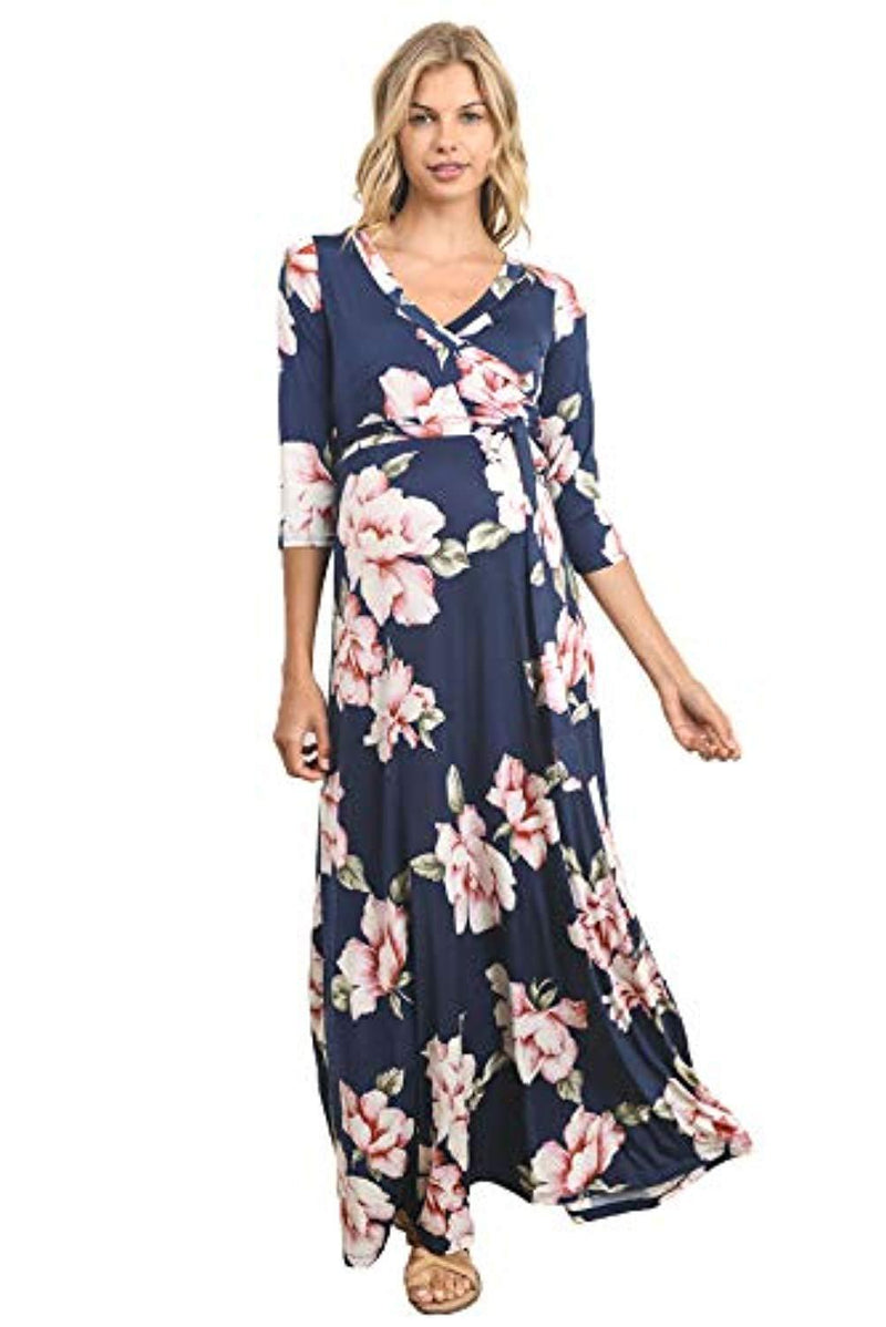 Faux Wrap Maxi Maternity Dress with Belt - Mommylicious
