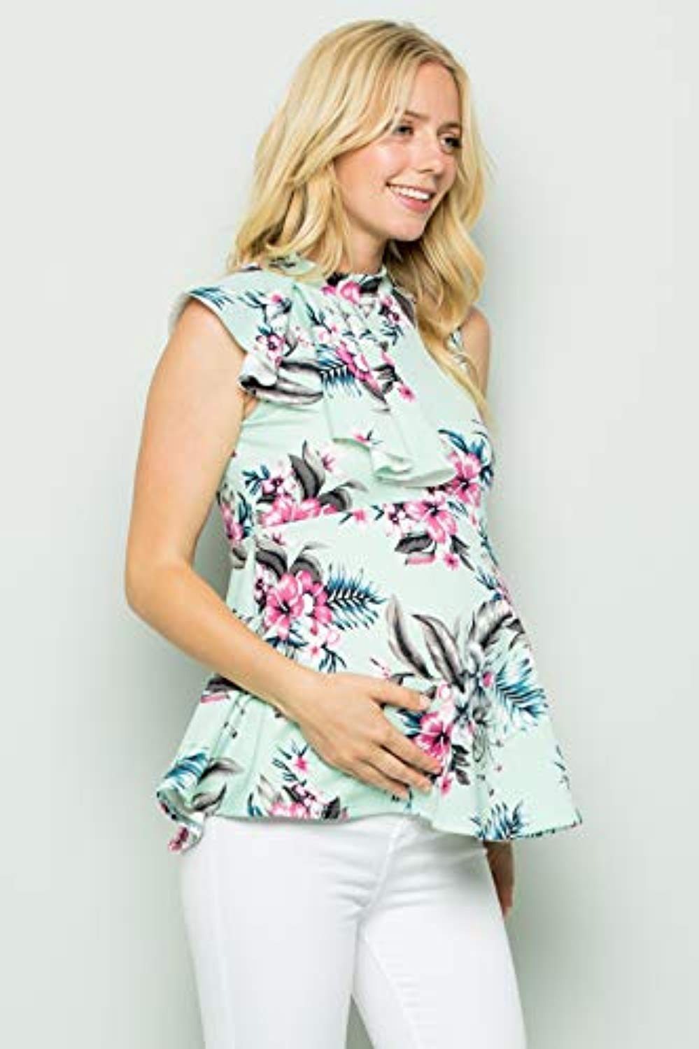 Floral Side Ruffle Peplum Maternity Top