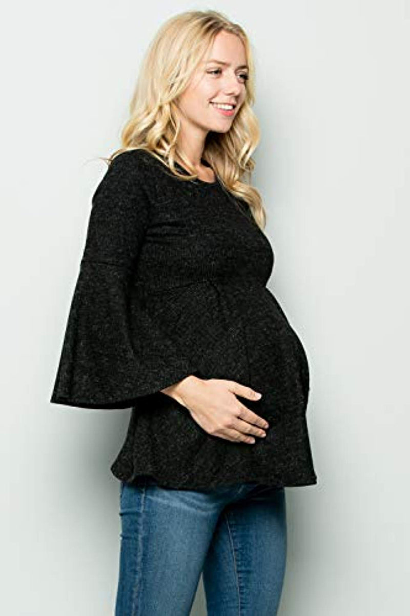 Black Bell Sleeve Maternity Tunic - Mommylicious