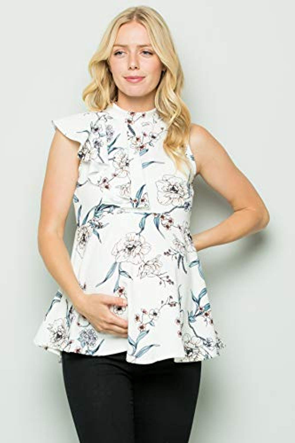 off white floral side ruffle maternity top