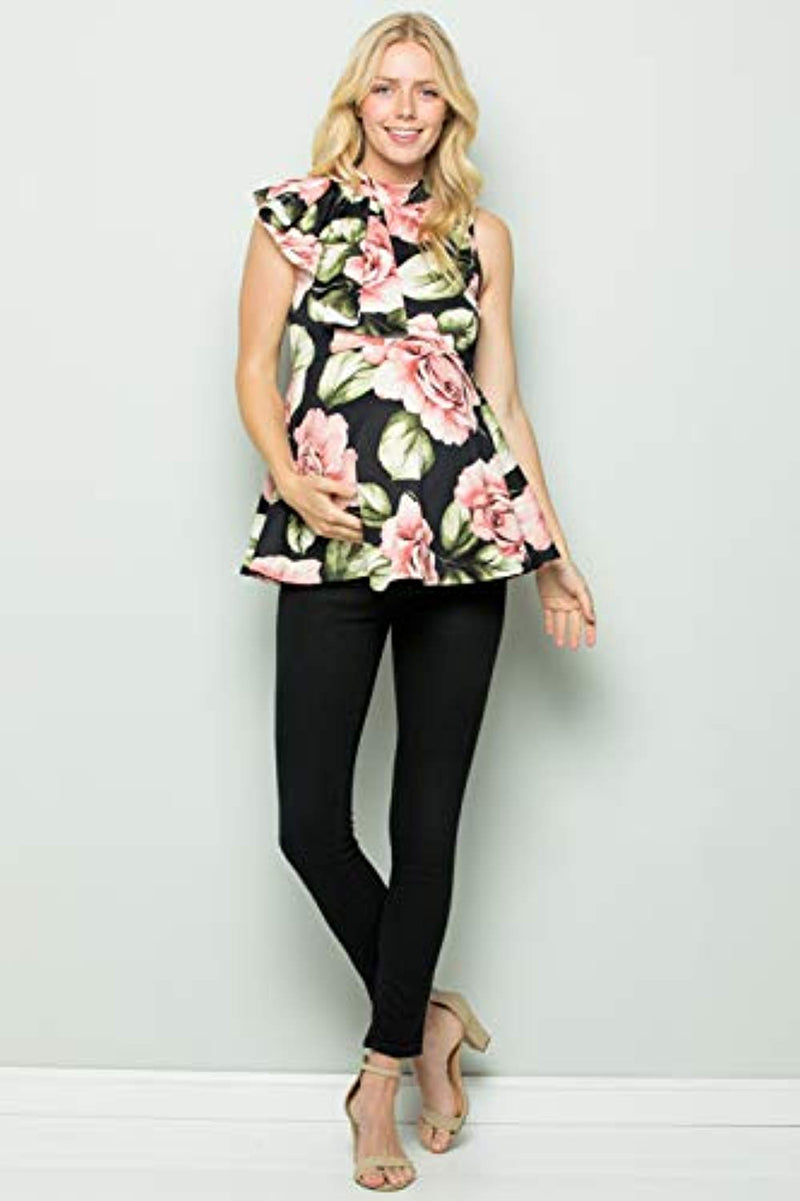 Black Floral Side Ruffle Peplum Maternity Top - Mommylicious