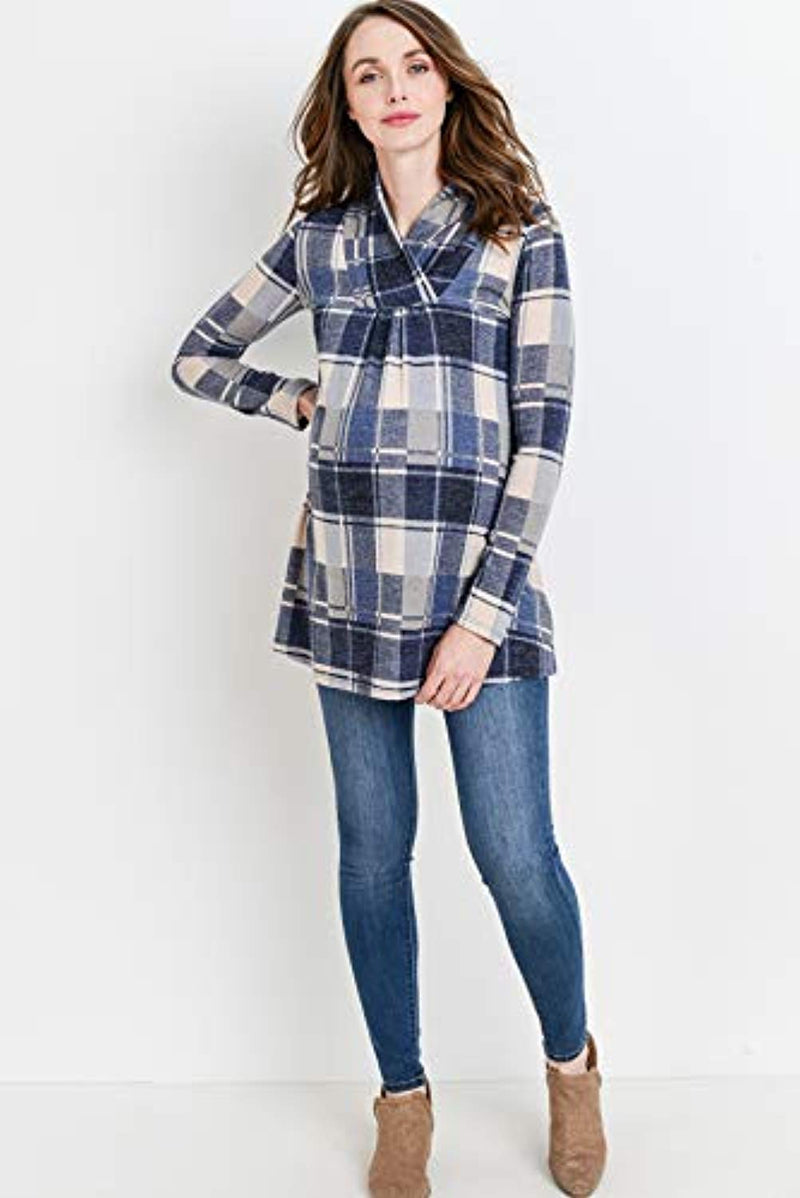 Plaid Maternity Tunic Top - Mommylicious