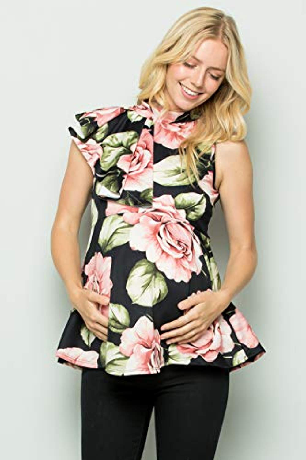 Black Floral Side Ruffle Peplum Maternity Top