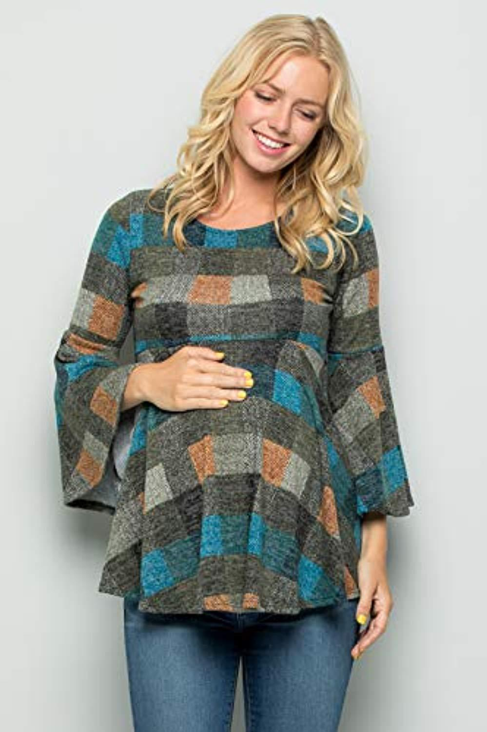 Teal Madras Plaid Bell Sleeve Maternity Tunic - Mommylicious