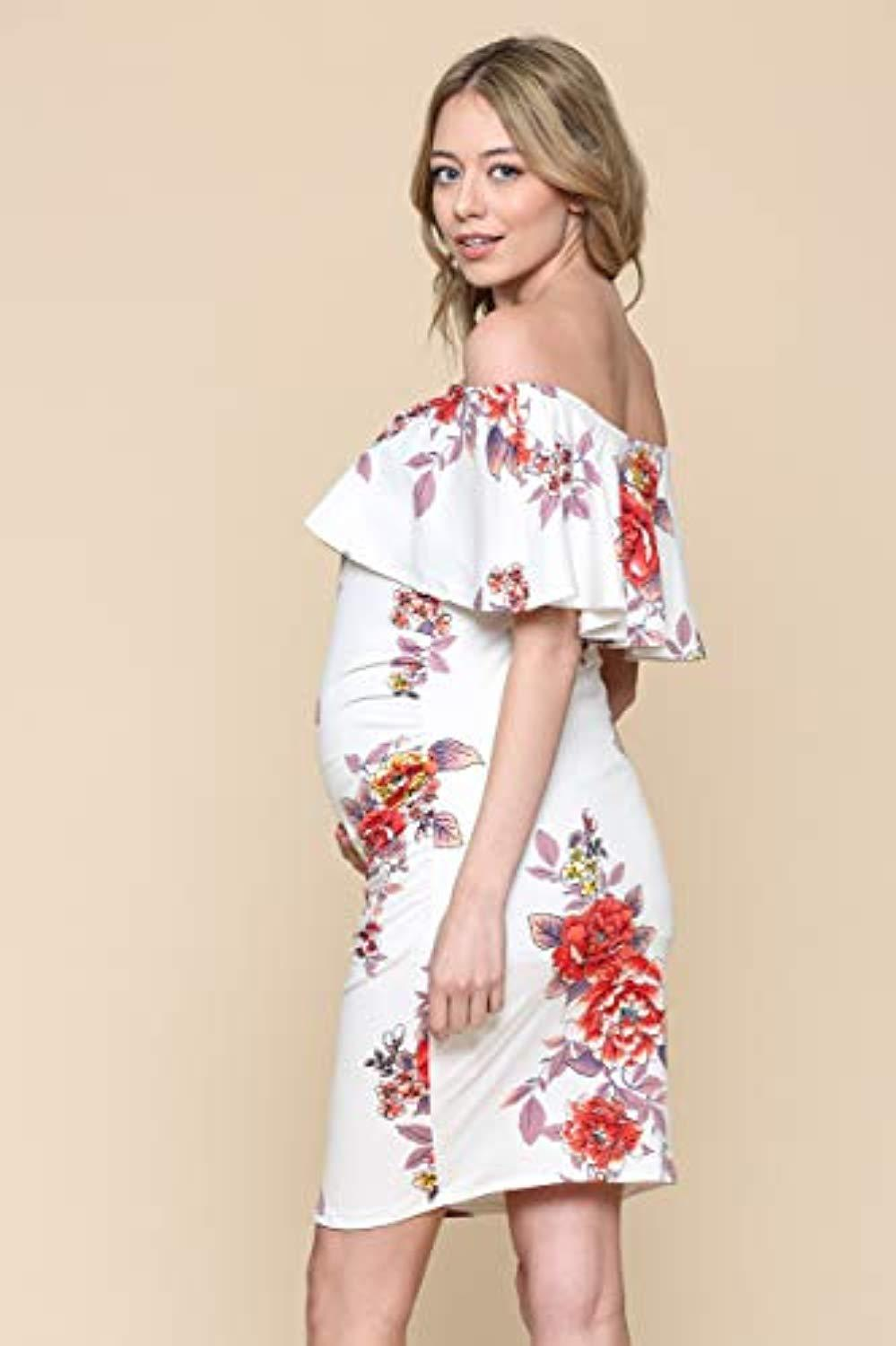 Floral Ruffle Off Shoulder Maternity Dress - Mommylicious
