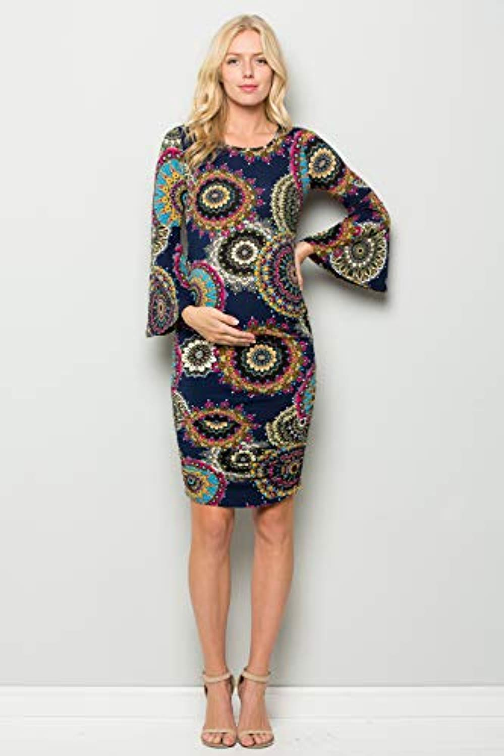 Boho Fitted Bell Sleeve Bodycon Maternity Dress - Mommylicious