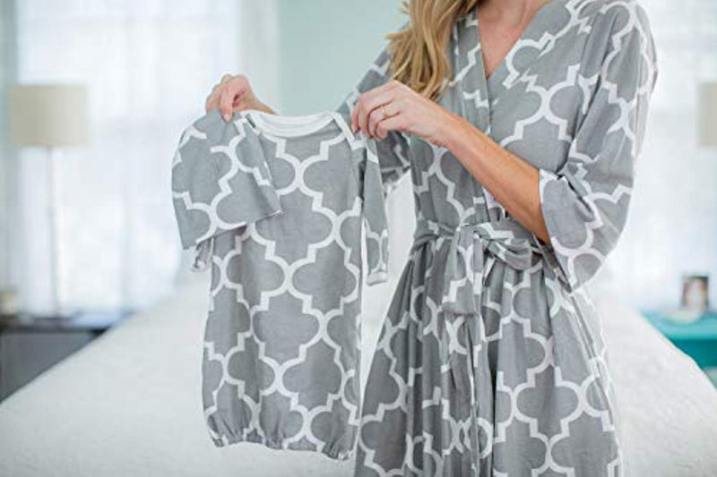 Grey Damask Delivery Robe and Baby Receiving Gown & Hat Set - Mommylicious