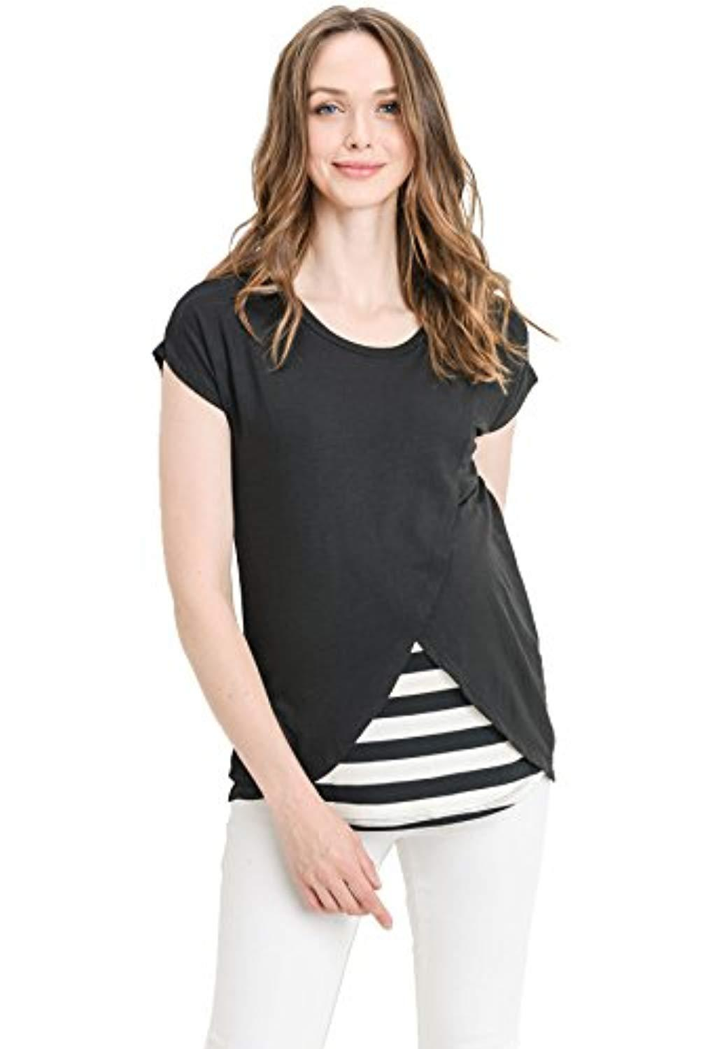 Asymmetrical Overlay Nursing Top - Mommylicious