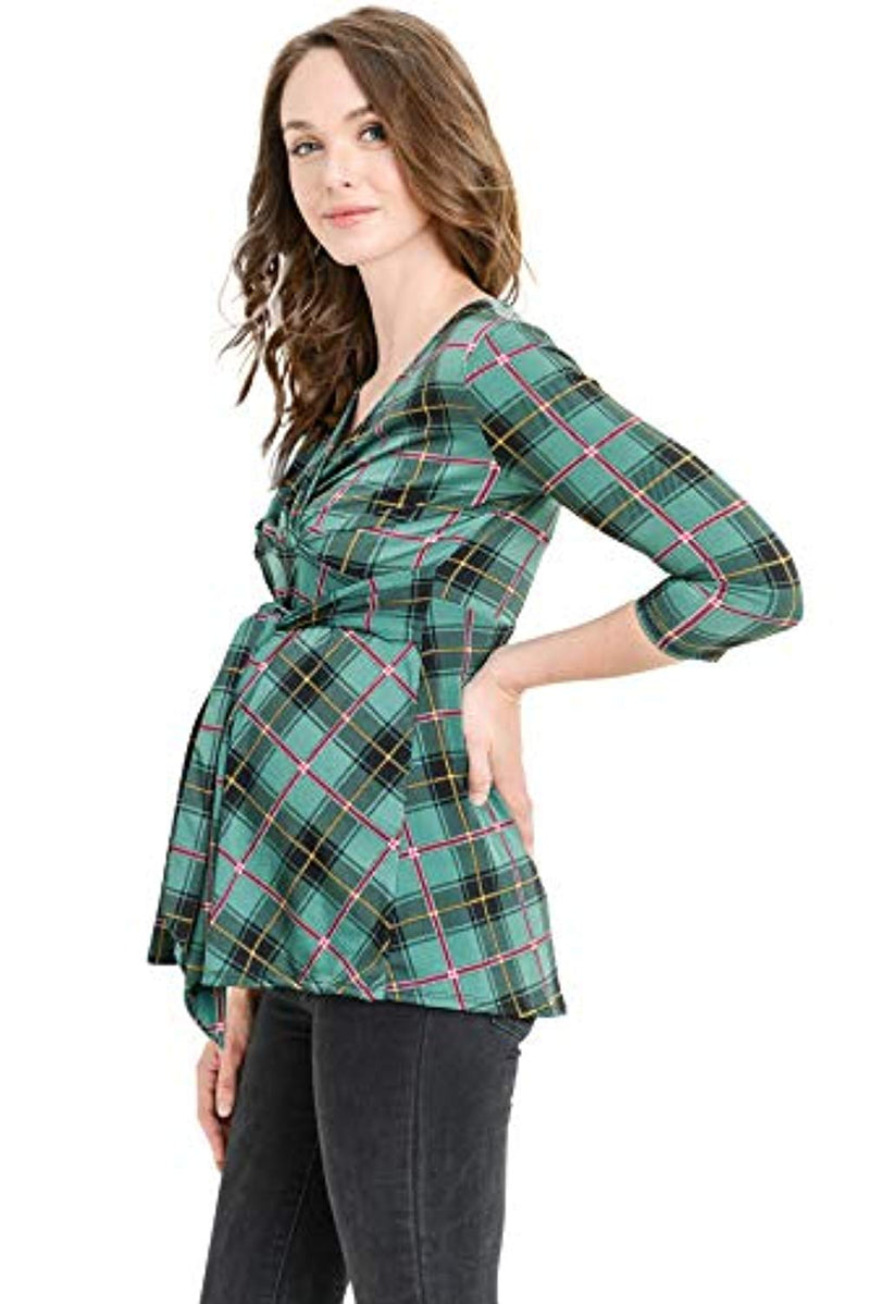 Plaid Belted Maternity & Nursing Top - Mommylicious