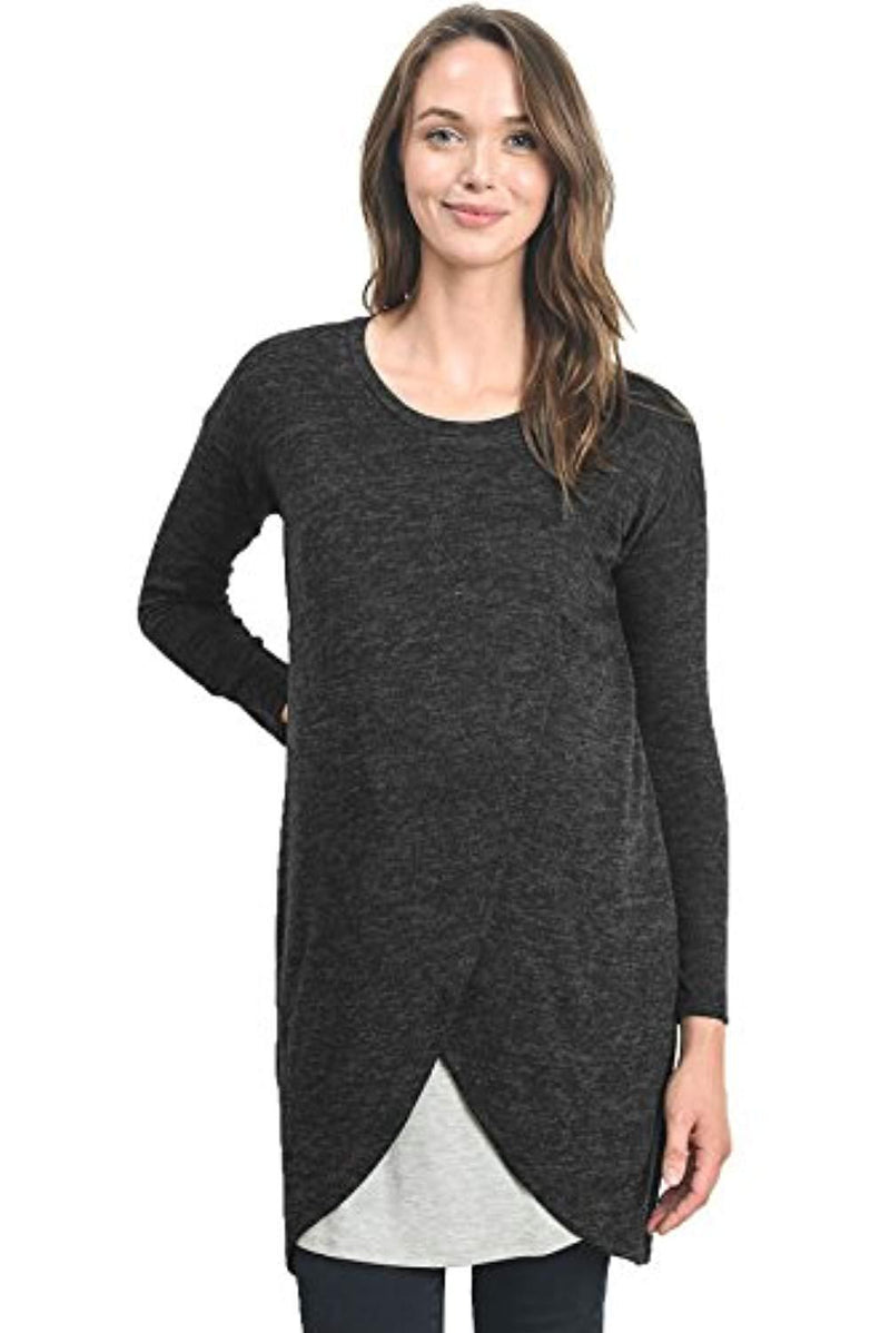 Contrast Overlay Maternity & Nursing Sweater - Mommylicious