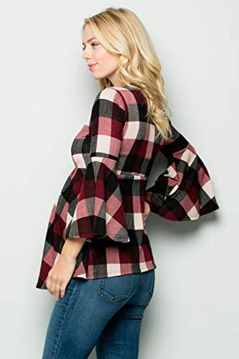 Buffalo Plaid Bell Sleeve Maternity Tunic - Mommylicious