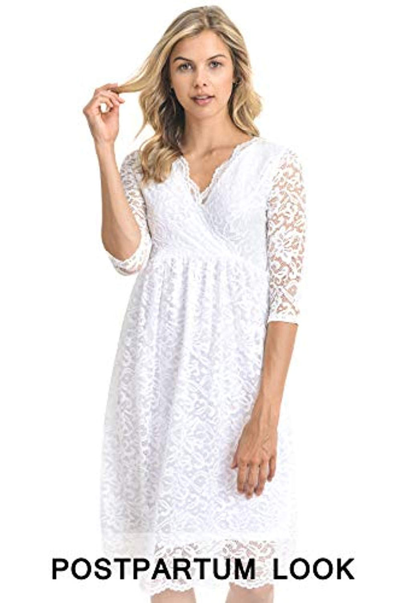 White Lace Maternity Dress - Mommylicious