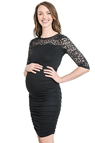 3/4 Sleeves Black Ruched Bodycon Maternity Dress