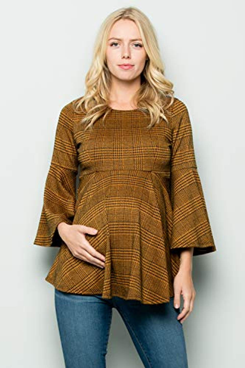 Glen Plaid Bell Sleeve Maternity Tunic - Mommylicious