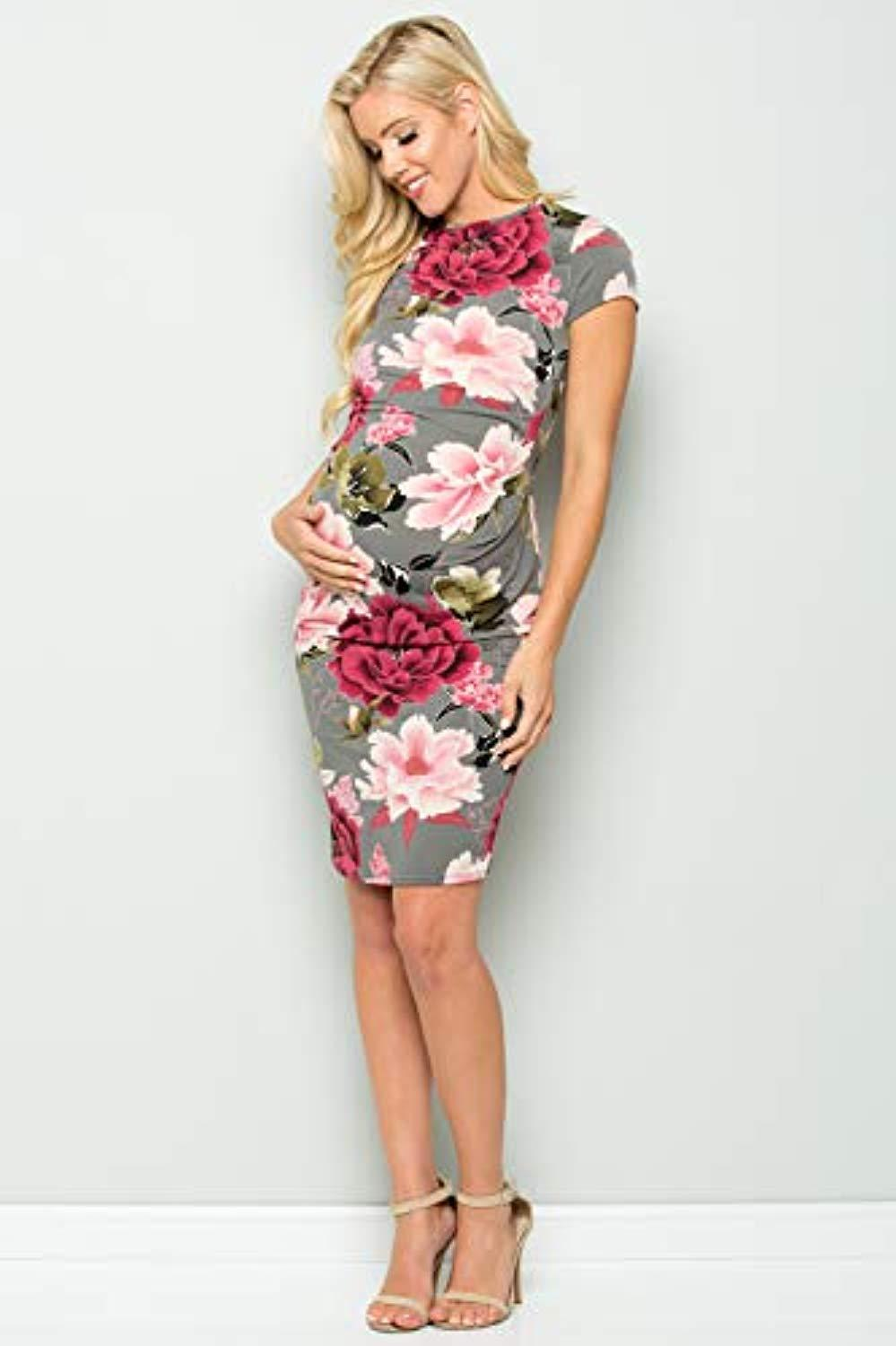 Pink and Grey Maternity Dress Full