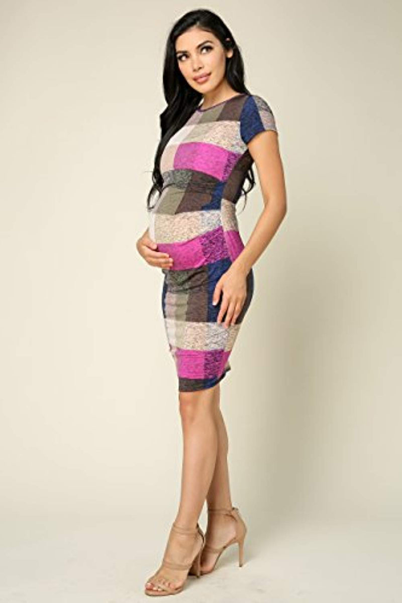 Checkered Maternity Bodycon Dress - Mommylicious