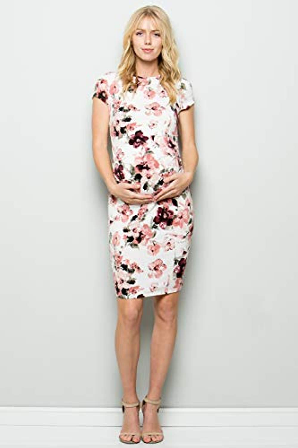 Ivory Floral Maternity Bodycon Dress - Mommylicious