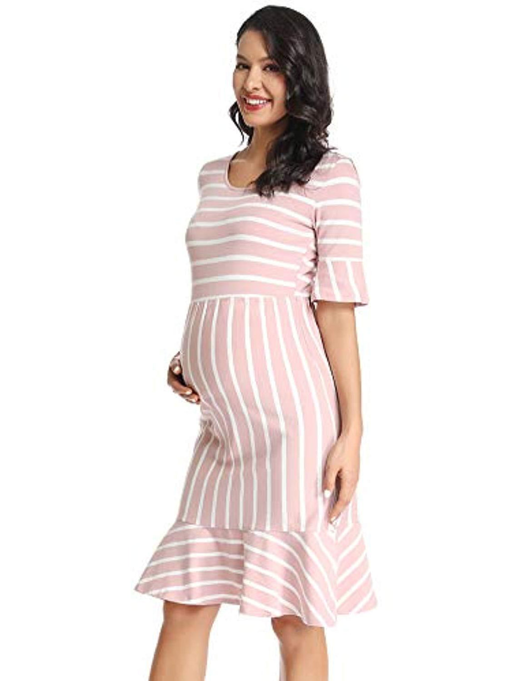 pink stripes baby shower dress