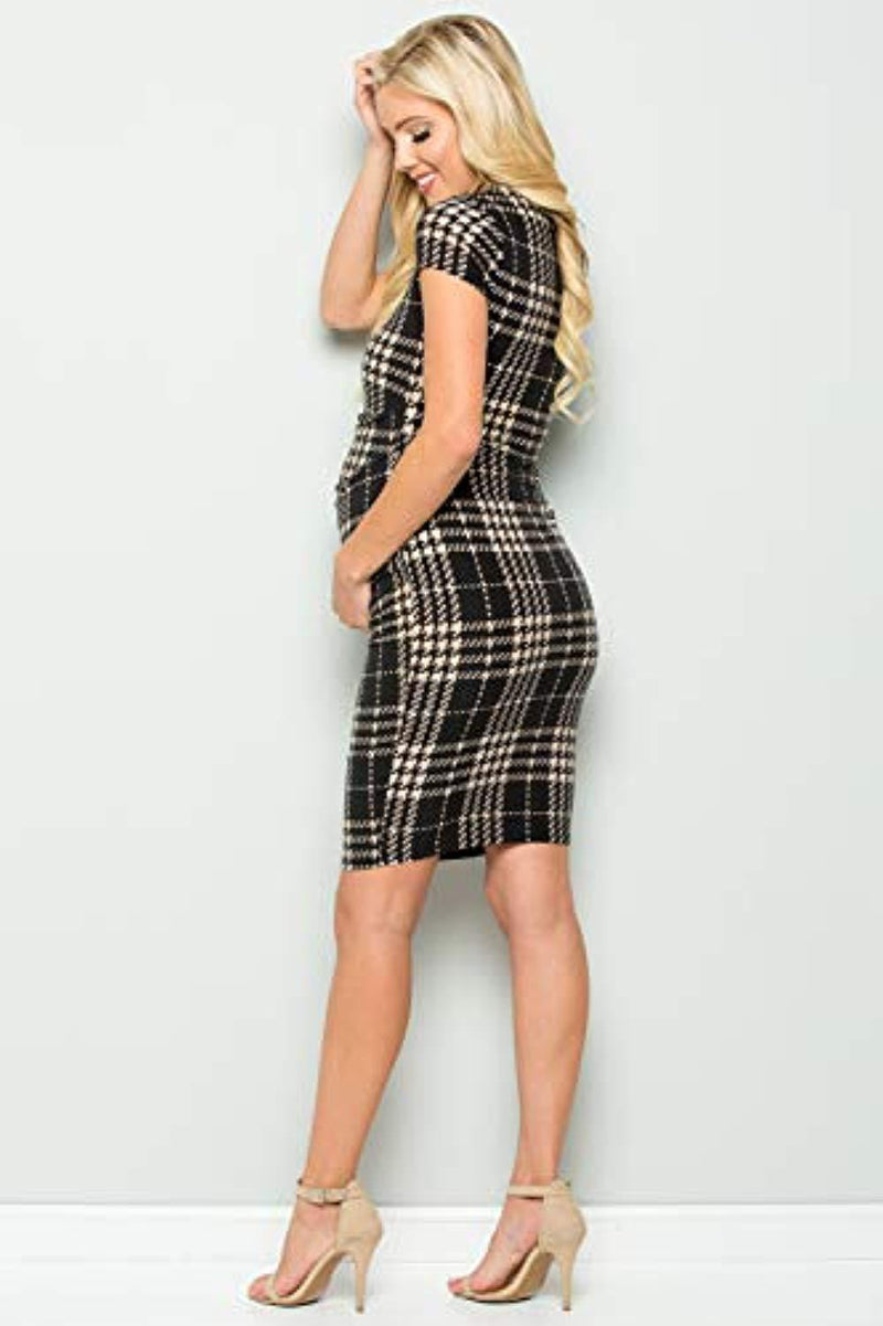 Scottish Plaid Maternity Bodycon Dress - Mommylicious