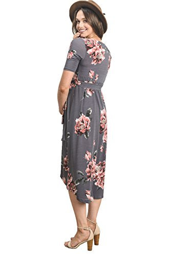 Floral High-Low Surplice Wrap Nursing and Maternity Dress - Mommylicious
