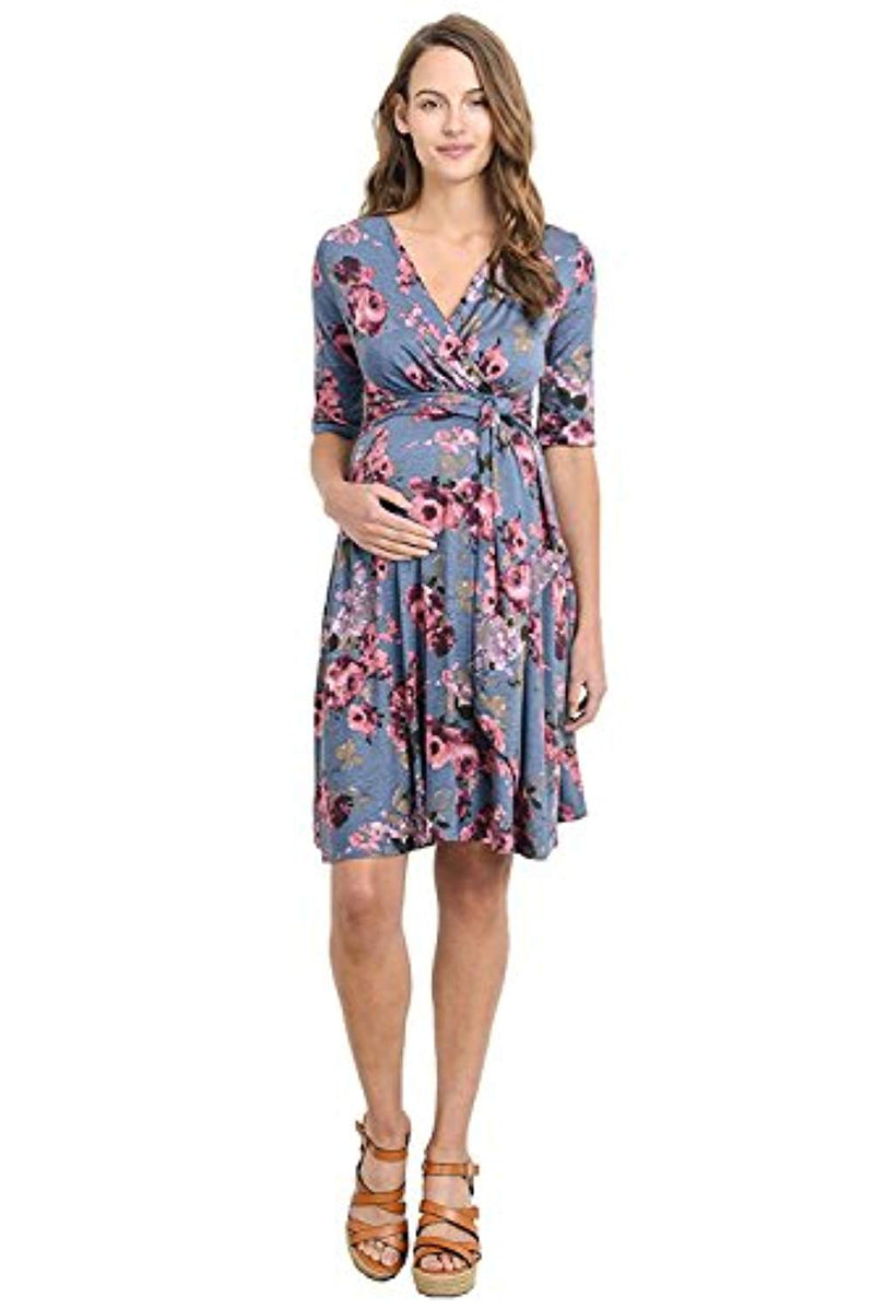 Denim Floral Wrap Nursing and Maternity Dress - Mommylicious