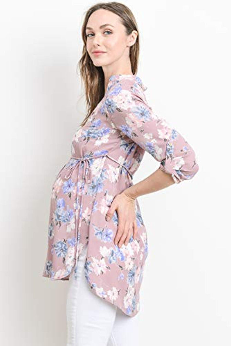 Floral Print Belted Maternity Tunic - Mommylicious