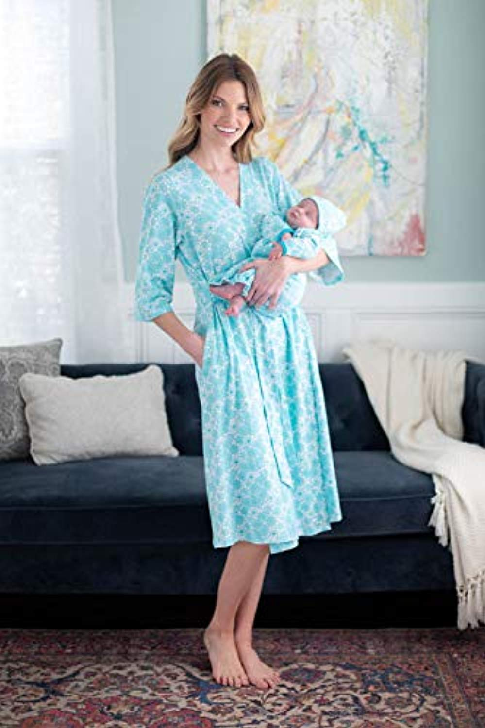 Turquoise Delivery Robe with Matching Baby Receiving Gown & Hat Set - Mommylicious