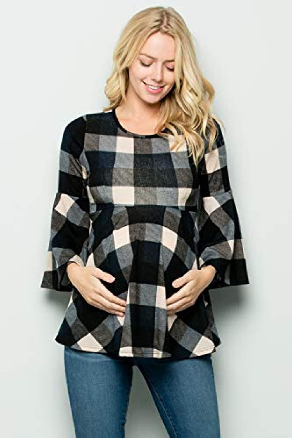 black plaid maternity top
