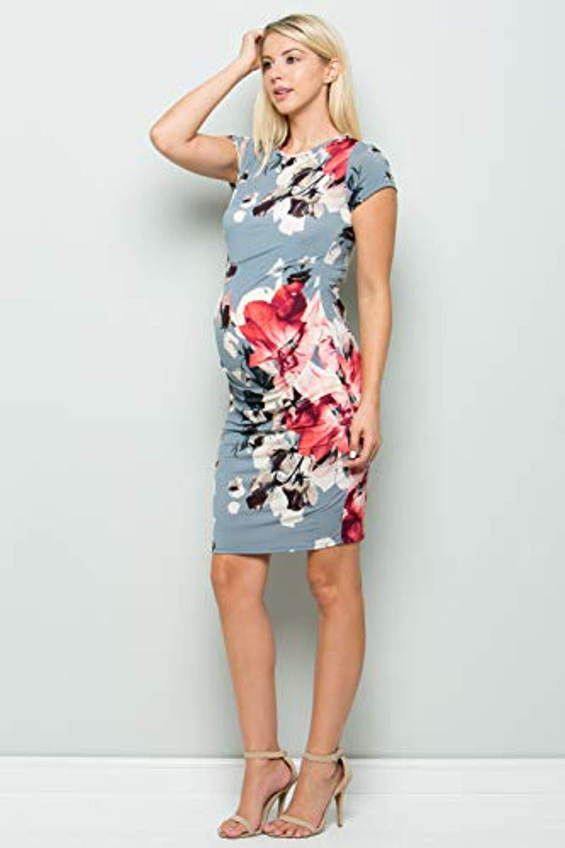 Blue Floral Maternity Bodycon Dress - Mommylicious