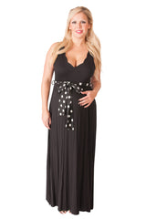 Black Tie-Sash Maternity Maxi Dress