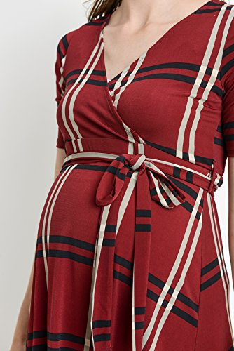 Burgundy Plaid High-Low Surplice Wrap Nursing and Maternity Dress with belt