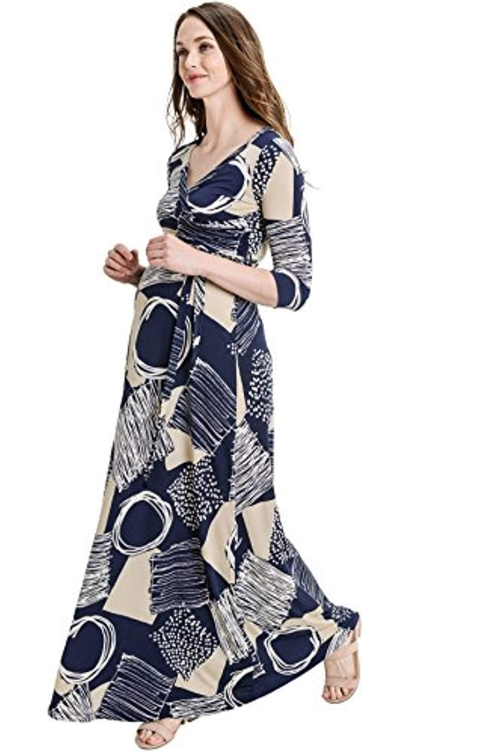 Abstract Maternity Dress with Belt - Mommylicious