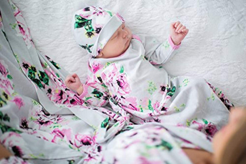 Grey Floral Delivery Robe and Baby Receiving Gown & Hat Set - Mommylicious
