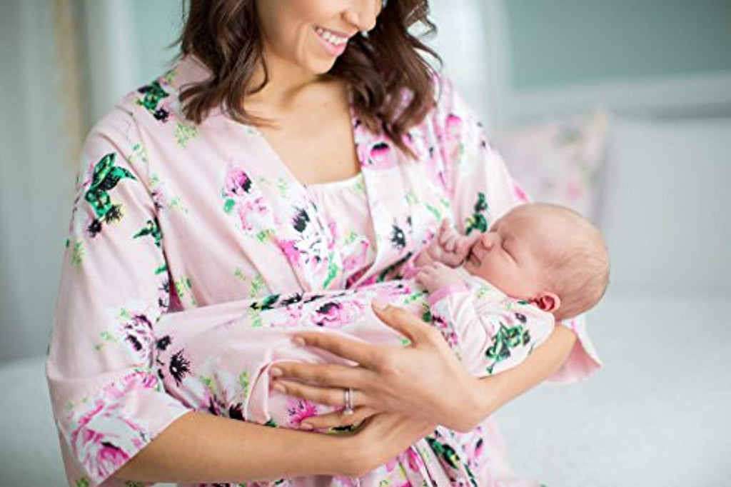 Pink Floral Delivery Robe with Matching Baby Receiving Gown & Hat Set - Mommylicious