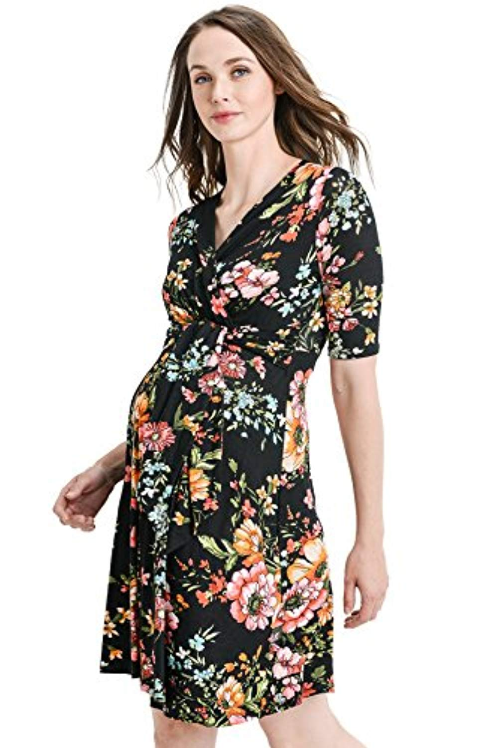 wrap side nursing dress