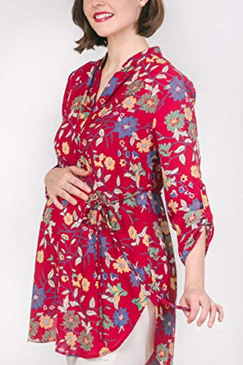 Red Floral Maternity Blouse