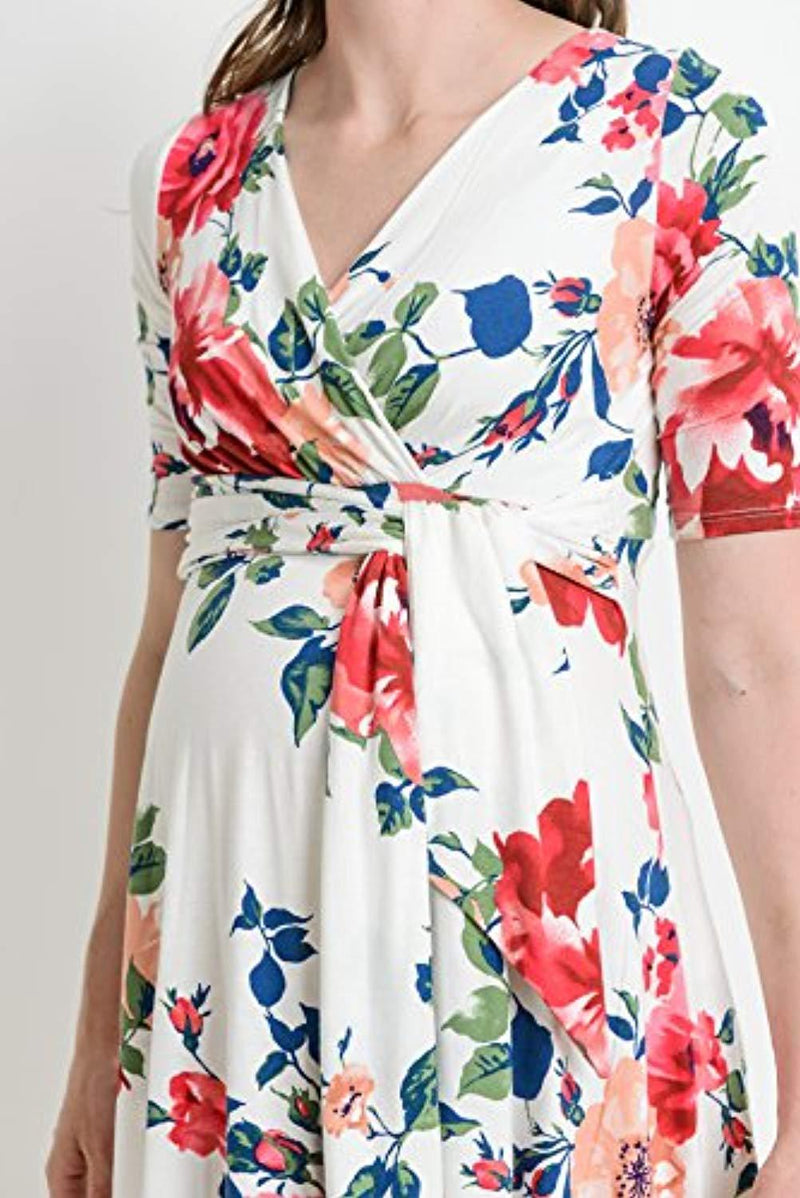 White Floral Wrap Nursing and Maternity Dress - Mommylicious