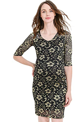 Black Gold Floral Lace Knee Length Bodycon Dress
