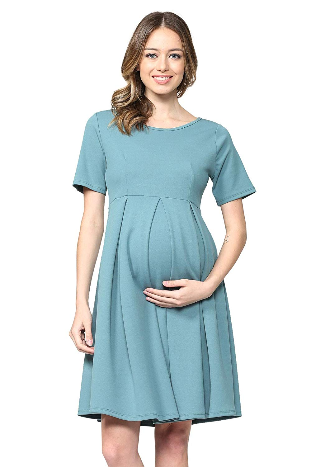 Turquoise Maternity Midi Dress - Mommylicious