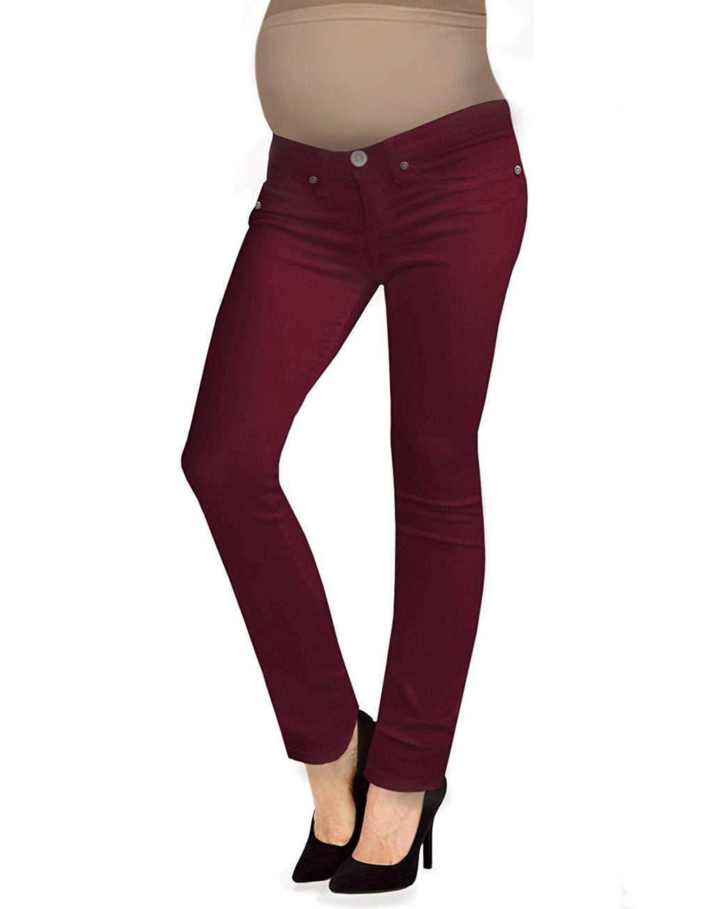 Maroon Stretch Bootcut Maternity Jeans - Mommylicious