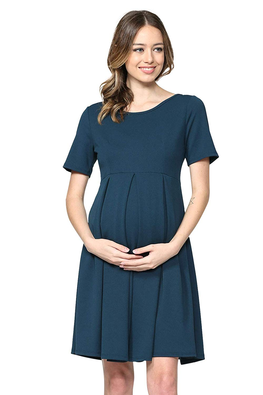 Teal Maternity Midi Dress