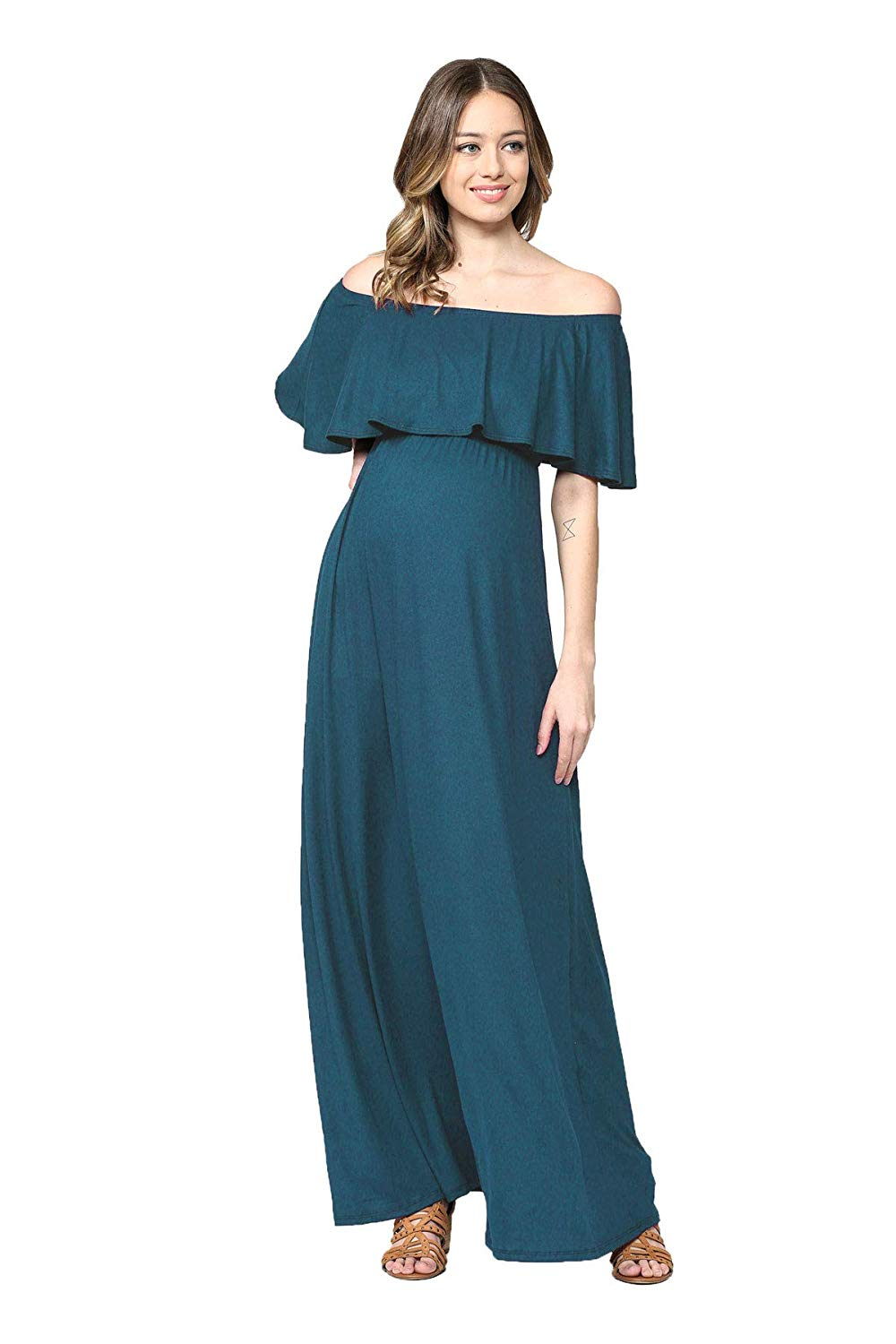 Teal Ruffle Off The Shoulder Maxi Maternity Dress Teal Solid